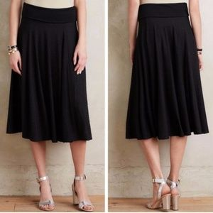 Anthro Maeve black Berkeley texture dot midi skirt